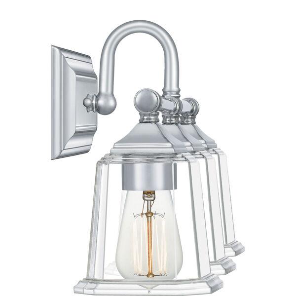 Nicholas Polished Chrome Three-Light Bath Vanity with Transparent Glass, image 3