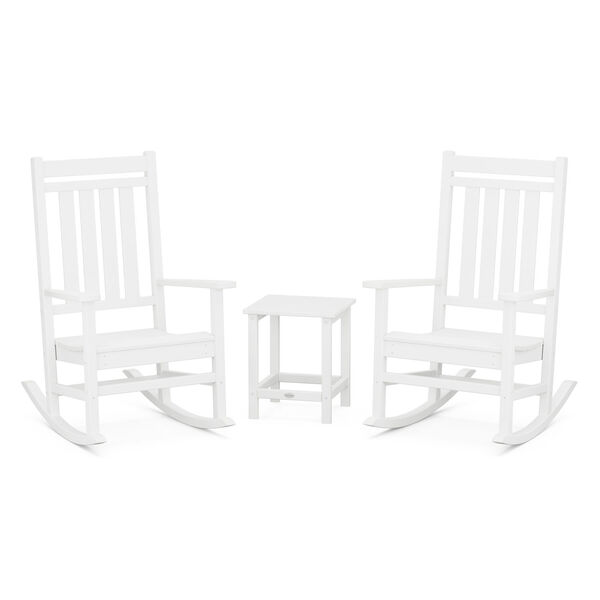 Estate White Outdoor Rocking Chair Set with Side Table, 3-Piece, image 1