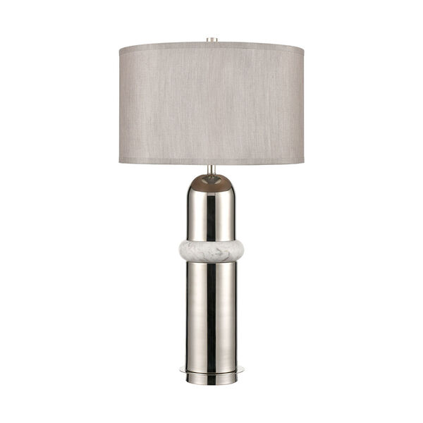 Silver Bullet Polished nickel and White Marble One-Light Table Lamp, image 2