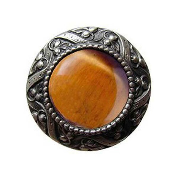 Pewter Victorian Jeweled Knob with Tiger Eye Stone , image 1