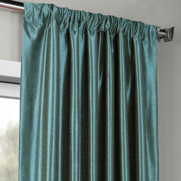 Peacock Vintage Textured Faux Dupioni Silk Single Panel Curtain, 50 X 108, image 3