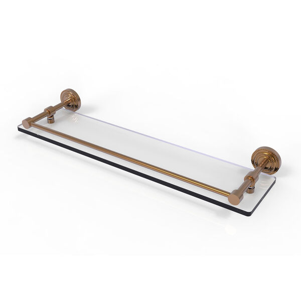 Dottingham 22 Inch Glass Shelf with Gallery Rail, Brushed Bronze, image 1