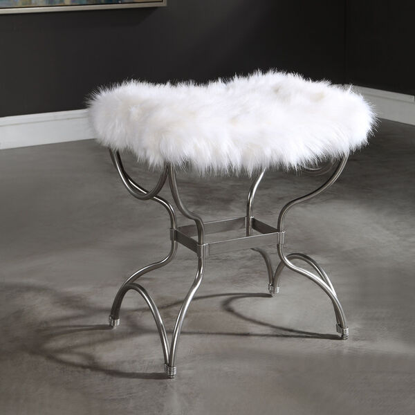 Channon White Fur Small Bench, image 4