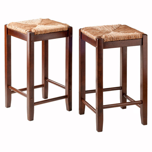 Kaden Walnut Rush Seat Counter Stool, Seat of 2, image 1