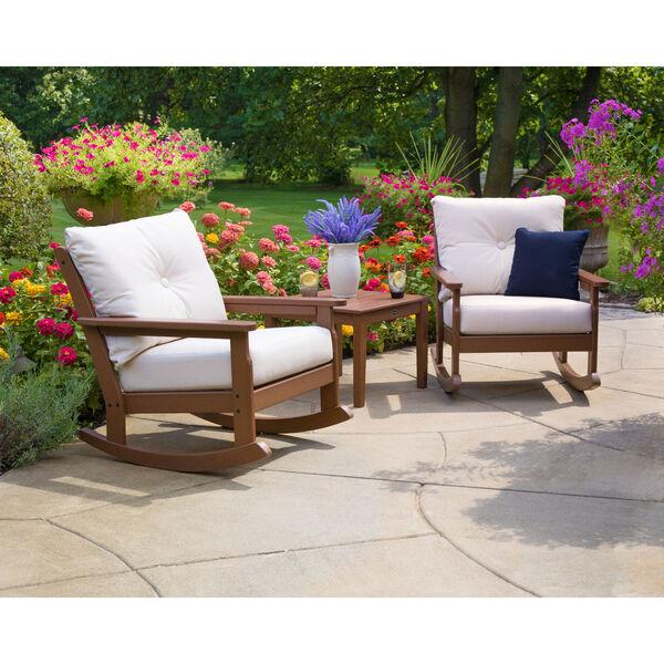 Vineyard Teak and Dune Burlap Deep Seating Rocking Chair, image 2