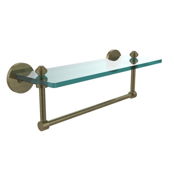 Southbeach Antique Brass 16x5 Glass Shelf w/ Towel Bar, image 1