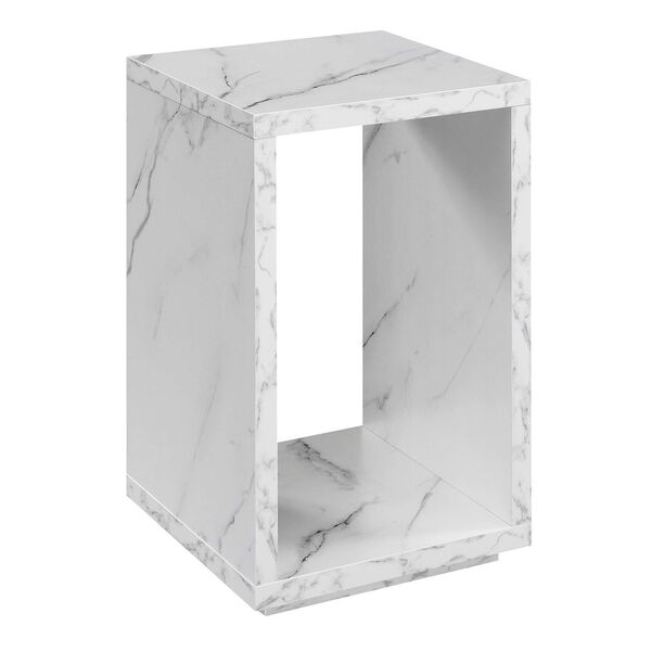 Northfield Admiral White Faux Marble End Table with Shelf, image 1