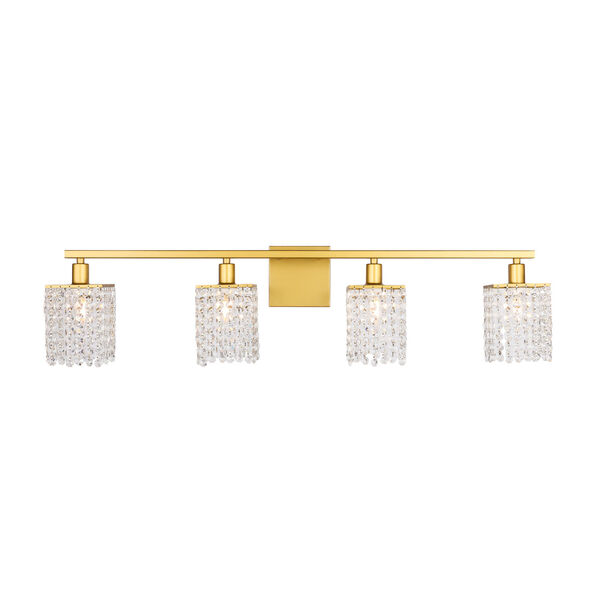 Phineas Brass Four-Light Bath Vanity with Clear Crystals, image 1