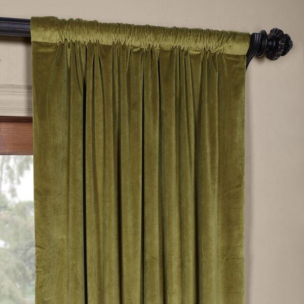 Green 84 x 50 In. Plush Velvet Curtain Single Panel, image 3