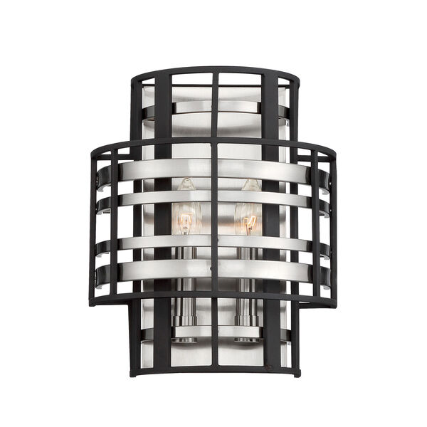 Presten Brushed Nickel with Sand Coal Two-Light Wall Sconce, image 1