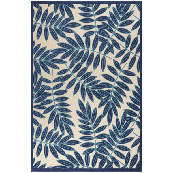 Aloha Navy Blue and White Indoor/Outdoor Area Rug, image 2