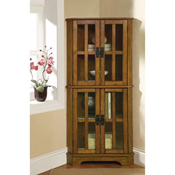 Brown Four-Shelf Corner Curio Cabinet, image 1