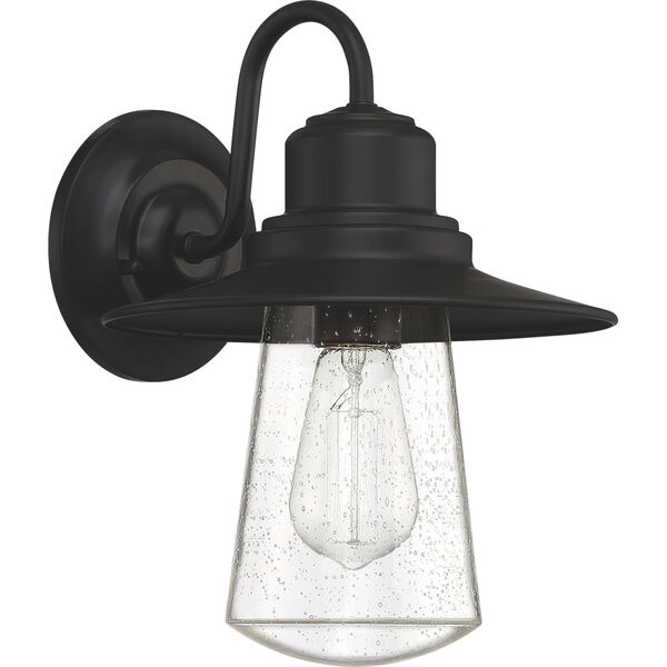 Radford Matte Black 10-Inch One-Light Outdoor Wall Sconce with Seedy Glass, image 2