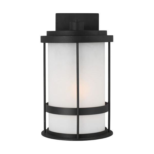 Wilburn Black Eight-Inch One-Light Outdoor Wall Sconce with Satin Etched Shade Energy Star, image 1