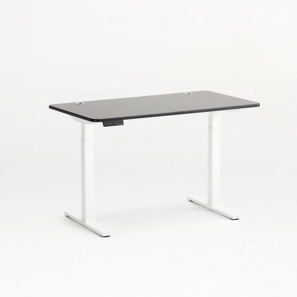 Autonomous White Frame Black Classic Top Adjustable Height Standing Desk, image 1
