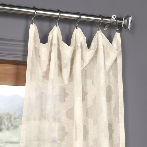 Ivory Tile Patterned Faux Linen Sheer 108 x 50 In. Curtain Single Panel, image 2