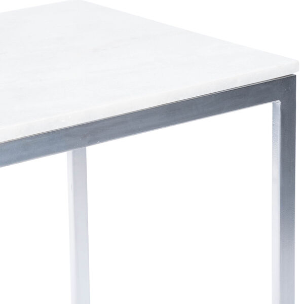 Lawler Nickel Metal and Marble End Table, image 8