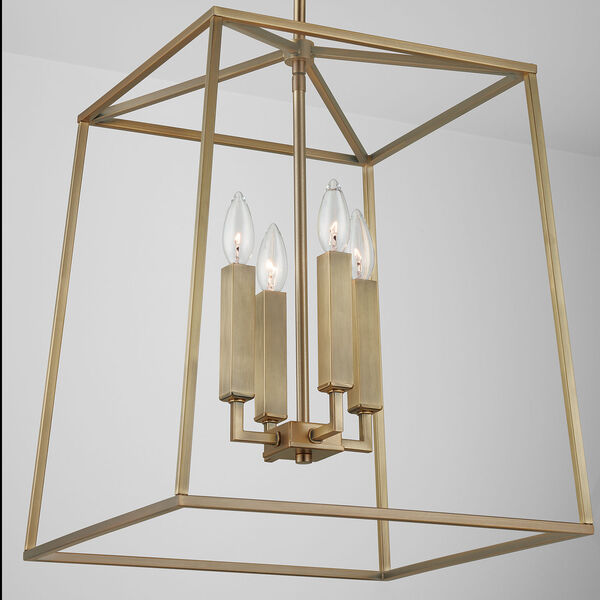Thea Aged Brass 71-Inch Four-Light Foyer Pendant, image 5