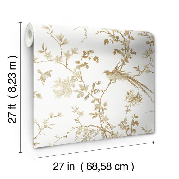 Ronald Redding 24 Karat White and Gold Bird And Blossom Chinoserie Wallpaper, image 4