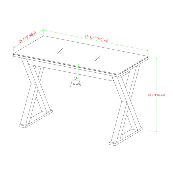 Home Office 48-inch White Glass Computer Desk, image 2