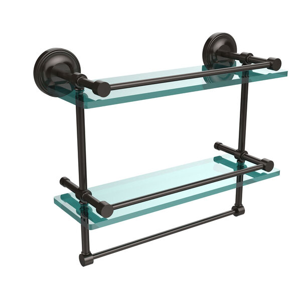16 Inch Gallery Double Glass Shelf with Towel Bar, Oil Rubbed Bronze, image 1