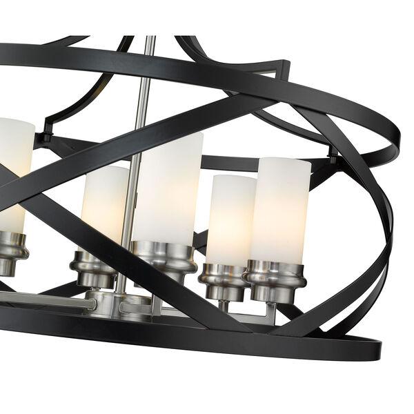 Malcalester Matte Black and Brushed Nickel Six-Light Pendant, image 6