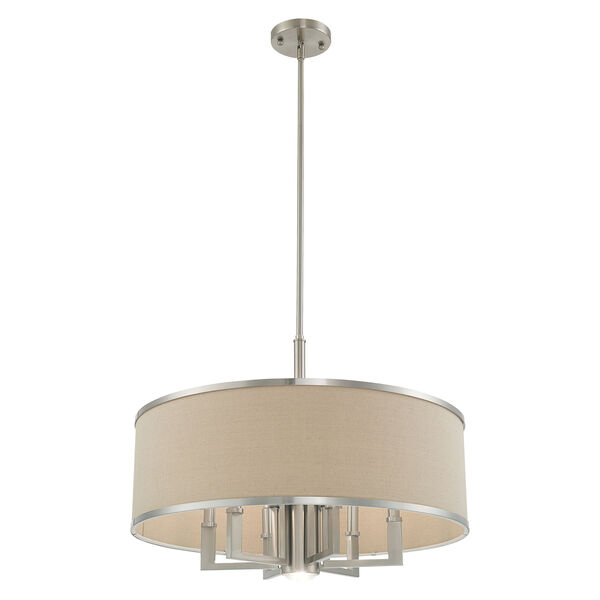 Park Ridge Brushed Nickel 24-Inch Seven-Light Pendant Chandelier with Hand Crafted Ash-Gray Linen Hardback Shade, image 5