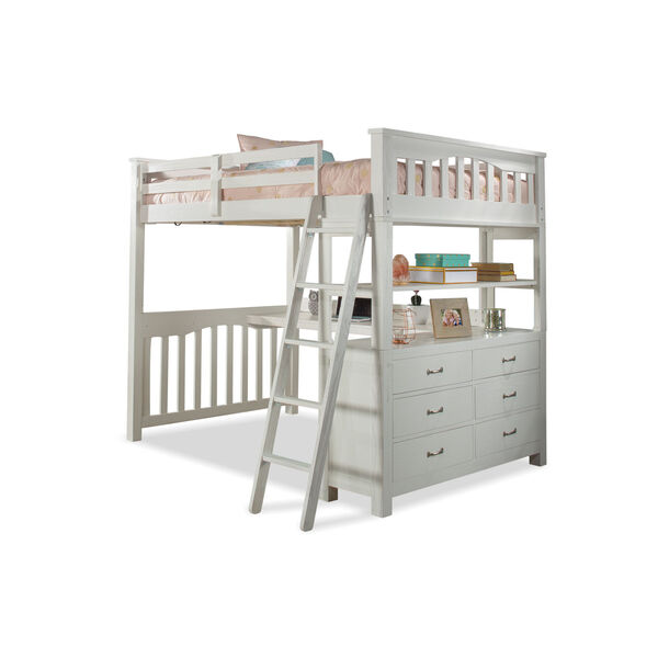 Highlands White Full Loft Bed With Desk, image 2