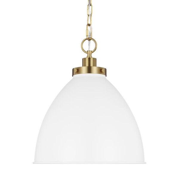 Wellfleet Matte White and Gold 14-Inch One-Light Pendant, image 4