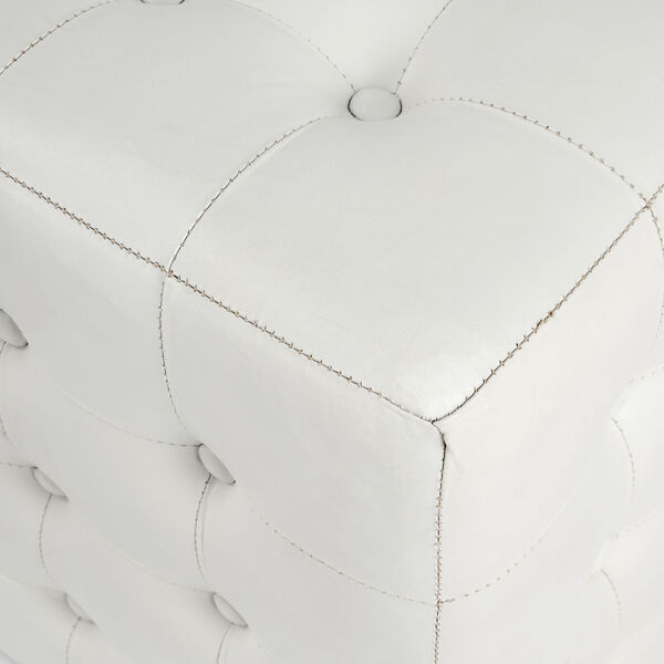 Accent Seating Leon White Leather Ottoman, image 4