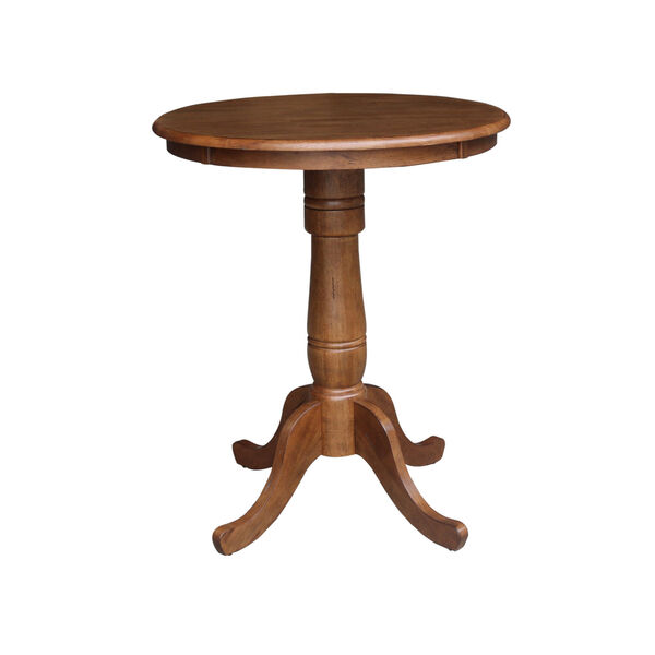 Distressed Oak 30-Inch Round Top Pedestal Gathering Table with Two X-Back Counter Height Stool, Set of Three, image 3