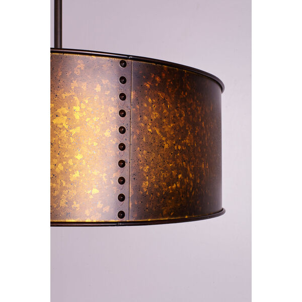River Station Weathered Brass Four-Light Industrial Drum Pendant, image 3