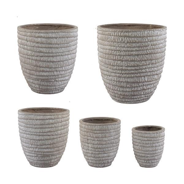 Beige Round Flower Pot ,Set of 5, image 1