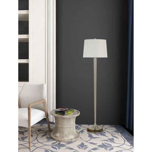 Chester Brushed Steel and White One-Light Floor Lamp, image 1