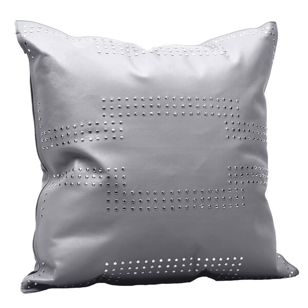 Gray 20 In. X 20 In. Geometric Studded Leather Throw Pillow, image 4