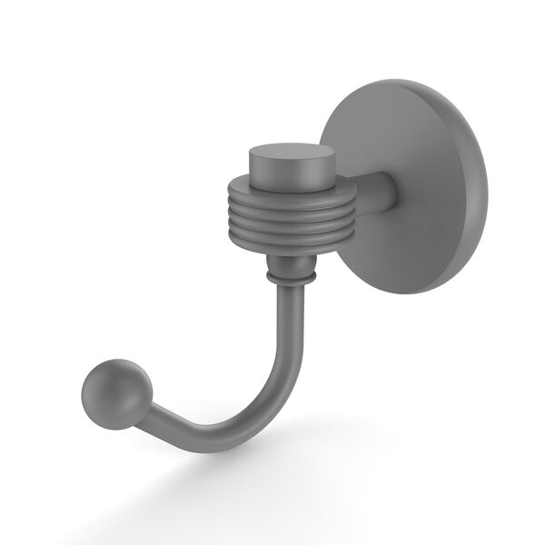 Satellite Orbit One Matte Gray Three-Inch Robe Hook with Groovy Accents, image 1