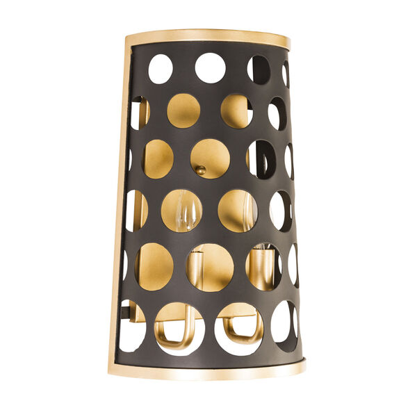 Bailey Matte Black French Gold Two-Light Wall Sconce, image 3