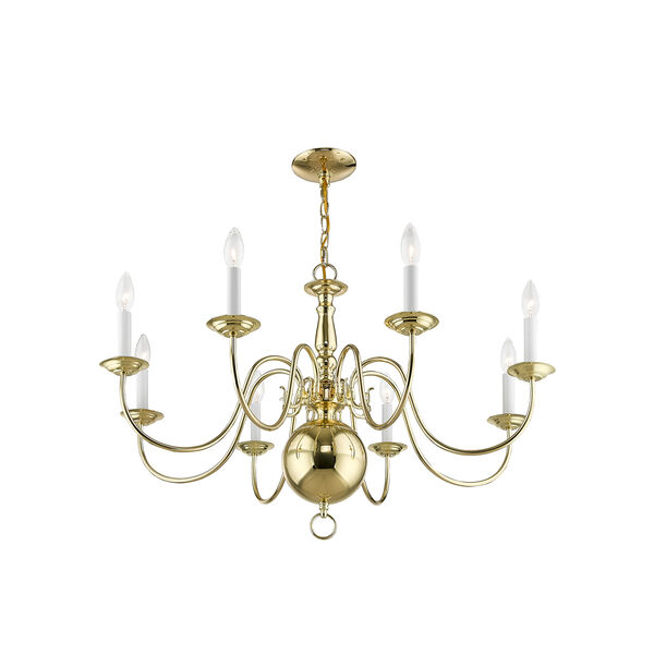 Williamsburgh Polished Brass 32-Inch Eight-Light Chandelier, image 3