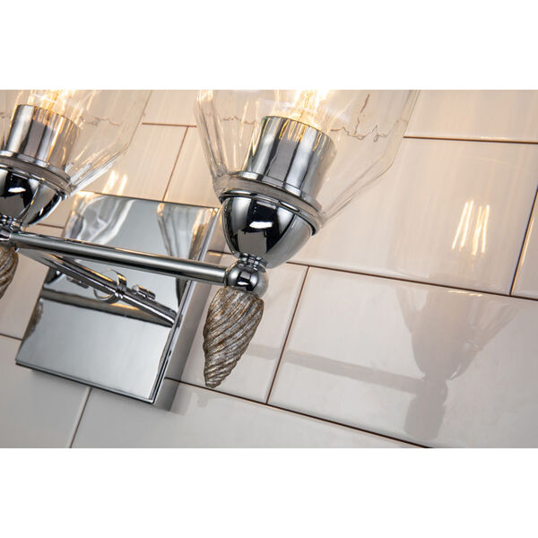 Fun Finial Polished Chrome Silver Three-Light Wall Sconce, image 2