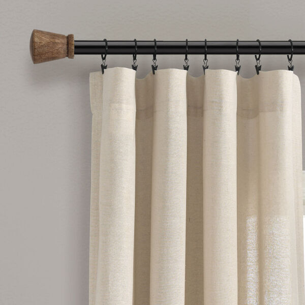 Linen Button Cream 40 x 84 In. Single Window Curtain Panel, image 2