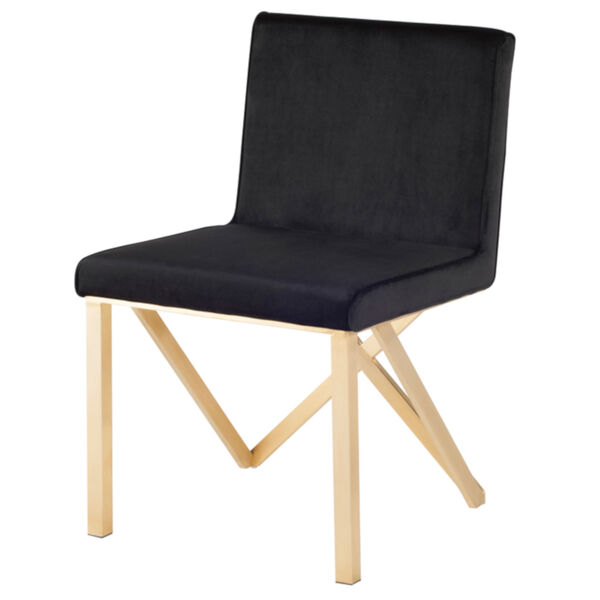 Talbot Black and Brushed Gold Dining Chair, image 1