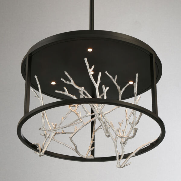 Aerie Black and Silver Four-Light Round LED Chandelier, image 2