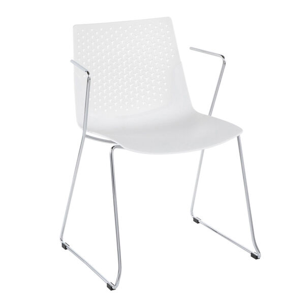Matcha Chrome and White Dining Chair, Set of 2, image 2