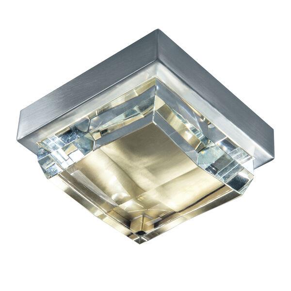 Crystal Brushed Nickel and Satin Brass LED Flush Mount, image 1