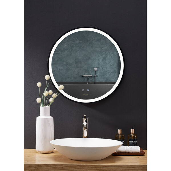 Cirque Black 24-Inch Round LED Framed Mirror with Defogger and Dimmer, image 1
