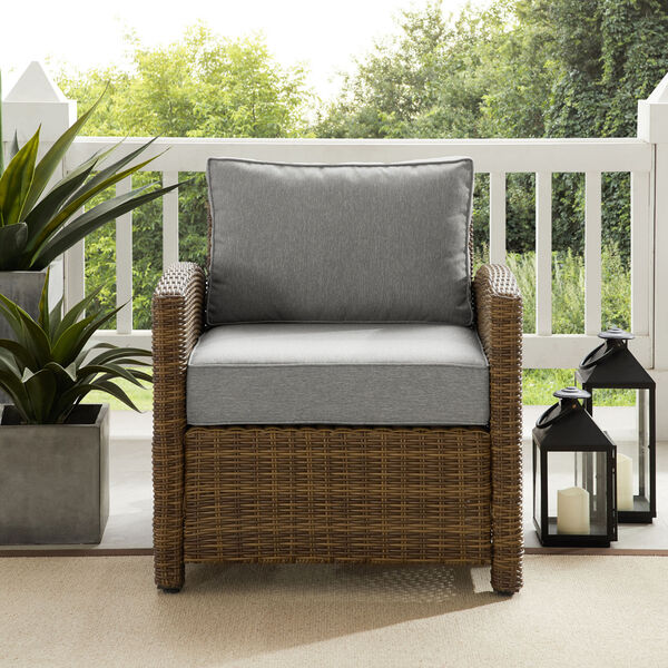 Bradenton Weathered Brown and Gray Outdoor Wicker Armchair, image 1