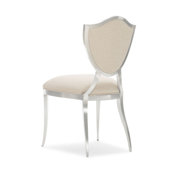 Caracole Classic Lightly Brushed Chrome and Beige Shield Me Chair, image 3