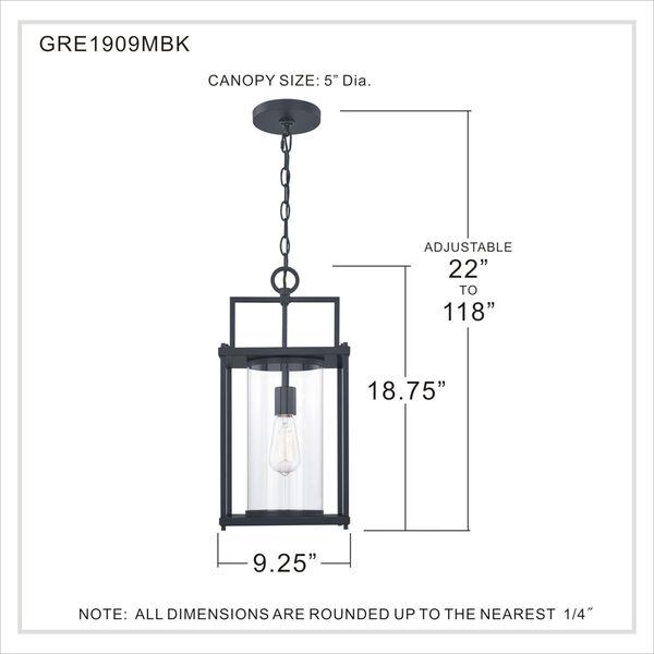 Garrett Matte Black 9-Inch One-Light Outdoor Hanging Lantern with Clear Glass, image 5