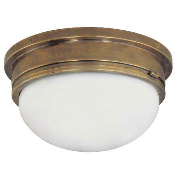 Antique Brass Large Marine Flush Mount Ceiling Light, image 1