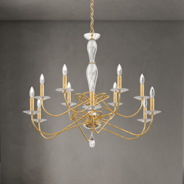 Arabesque Heirloom Gold 12-Light Chandelier with Clear Heritage Crystal, image 2